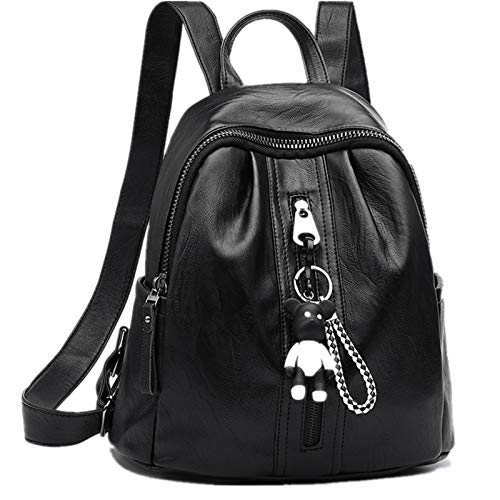 JIAJIAO Black Ladies Leather Bag Backpack