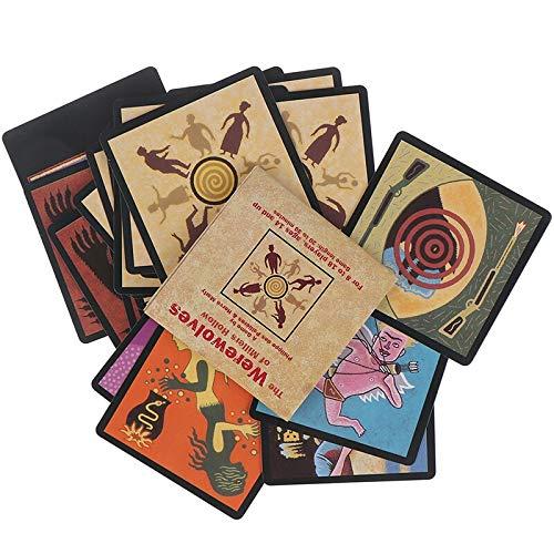 YUNNING Tarot Card Brettspiel Englisch Fun Deck Spielkarten Geschenkbox Family Funny Entertainment Brettspiel Werwolf Und Katze Tarot Card Deck