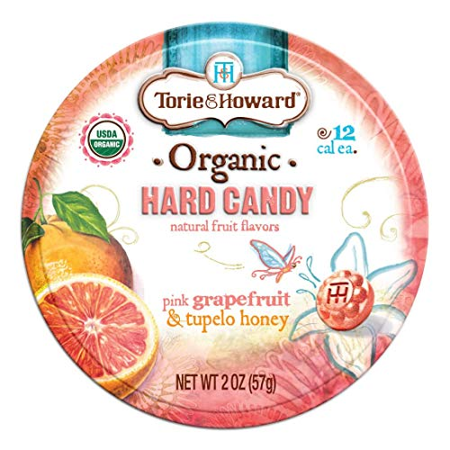 Torie and Howard Organic Hard Candy Tin Pink Grapefruit and Tupelo Honey 2 Ounce