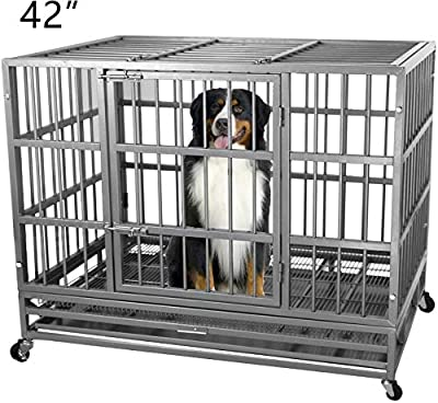 ITORI Heavy Duty Metal Dog Cage Kennel Crate and Playpen for Training Large Dog Indoor Outdoor with Double Doors & Locks Design Included Lockable Wheels Removable Tray?42in 48in? (42 in, Silver)
