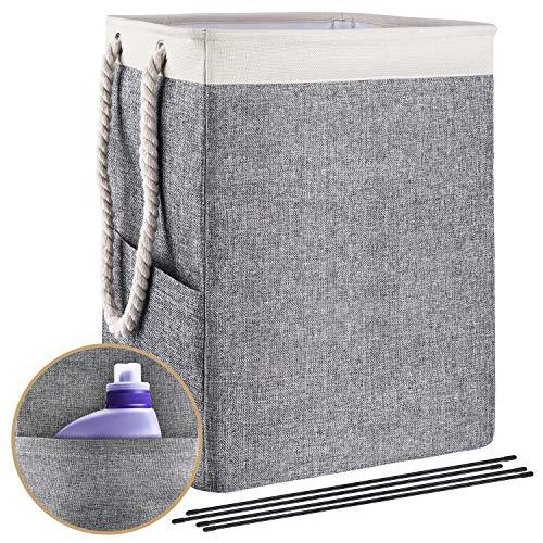 Ommani Faltbarer Wäschekorb 65L, Faltbarer Wäschesammler mit Griffen Wäschebox Leinenstoff herausnehmbar 42 x 31 x 50 cm