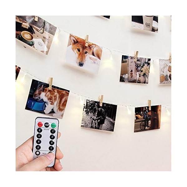 Fernbedienung-Schaltuhr-RECESKY-Foto-Clip-Lichterketten-40-LED-85m-Batterie-Lichterketten-Bilderrahmen-dekor-Fotorahmen-Dekoration-fr-innen-Haus-Weihnachten-Hochzeit-Schlafzimmer
