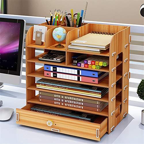 Dateihalter Desktop Desktop Holz Storage Rack Multi-Layer-Schubladen Aufbewahrungsbox Dateien Regal Bücherregal Creative-Datei Box Organisator des Dateihalters (Color : Wood, Size : 35x22x35cm)