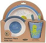 Kinder Geschirr Bambus ♻ Bamboo Geschirrset für Kinder und Baby 5tlg - Umweltfreundlich, BPA-frei, Nachhaltig - Spülmaschinenfest - Frühstücksset mit Bambusteller, Schale, Trinkbecher, Gabel, Löffel