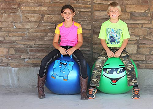 Ritmo Rubber Inflatable Sit and Bounce Rubber Hop Ball for Kids, Space Hopper Jump Bounce Handle Ride-on Toy Bouncy Air Pump Included (Multicolour, Medium)