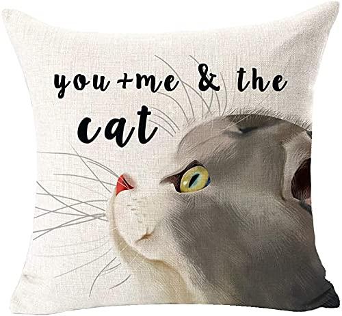 Nota se al mio gatto non piaci, probabilmente non amerò nemmeno la pace Artiglio del cane Cotone Lino Coperte e Plaid Federa Fodera per cuscino Rettangolo Cuscino decorativo per compleanno i(18×18)