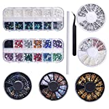 9 scatole Nail Art con strass set per decorazioni nail art, Misto Dimensioni Unghie Perlin...