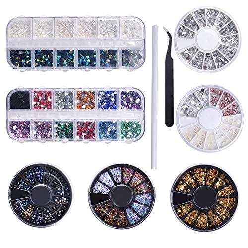 Biutee Nail Art 7 Cajas Diamantes Decoracion para Uñas Kit Piedras Decorativas con 1pcs Selector y 1pcs Lápiz de Recogida