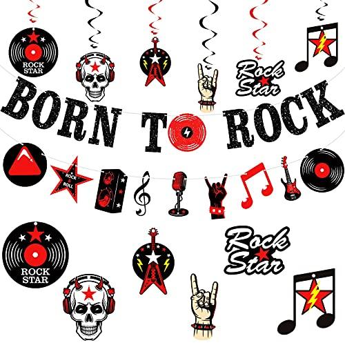 26 Stücke Born to Rock Funkeln Banner Rock Musikel Emente Banner Rock and Roll Hängend Wirbel Spiralen Rock Star Hängend Karten für Rock Thema Musik Geburtstag Baby Shower Party Dekoration