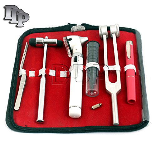 DDP LED Fiber Optic Otoscope Tuning Fork C128 Reflex Hammer Diagnostic ENT Set-White