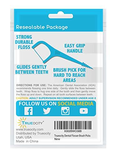 Trueocity Dental Flossers Brush Picks 4 Pack w/ Travel Case (200 Total Count), Dental Floss Glides Easy Between Teeth, Flosser Helps Prevent Tooth Decay & Gum Disease, Easy Grip Handle, Mint Flavored