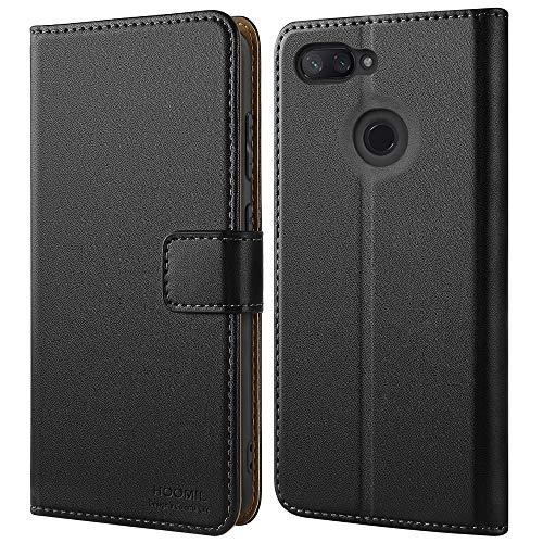 HOOMIL Handyhülle für Xiaomi Mi 8 Lite Hülle, Premium Leder Flip Schutzhülle für Xiaomi Mi 8 Lite Tasche, Schwarz