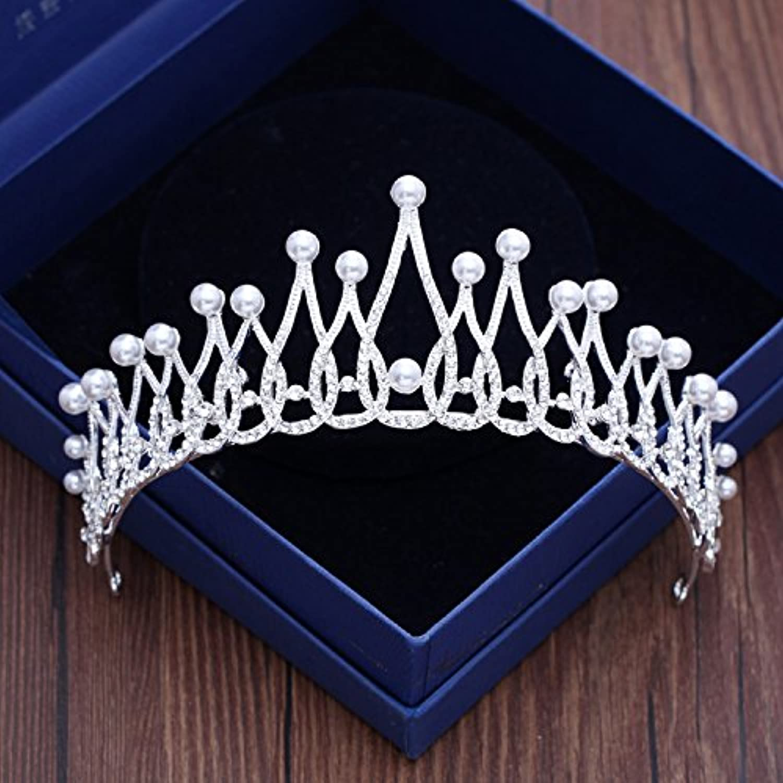 GTVERNHKorean Pearl Headdress Bride Luxurious Crown Hair Ornaments Silver Ornaments Photo Wedding