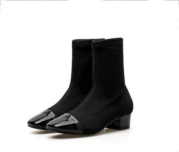 Bottine Chaussure Femmes 4Cm Chunkly Talon voitureré Orteil Martin Botte Tricot Laine Chaussettes Chaussons Décontracté Chaussures De L'ue Taille 35-39