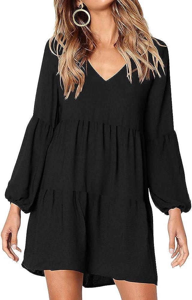 Cocobla Women V Neck Long Sleeve Tunic Dress Casual Loose Puff Flowy Swing Shirt Dress