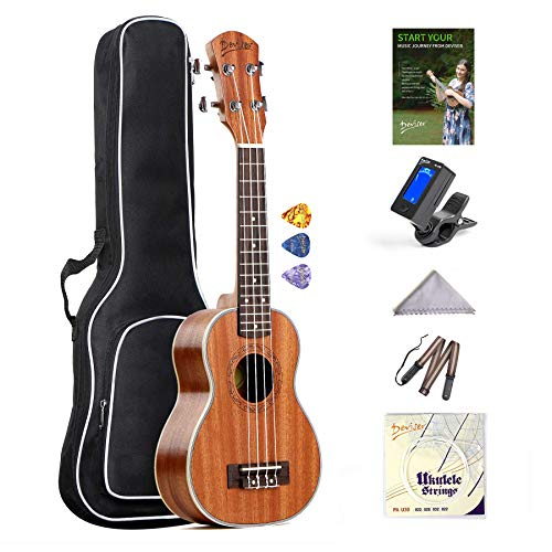 Soprano Ukulele Deviser 21 inch sapele ukelele starter kit with free online lessons Hawaiian 4 strings Uke Beginner bundle Strap&Tuner&Case&Aquila String Set