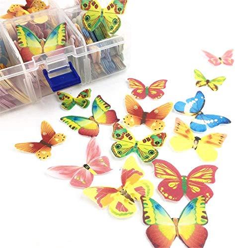 100 Stück essbare Schmetterling Cupcake Topper, essbare Blumenkuchen Dekorationen, Waffel Papier Cupcake Kuchen Dessert Topper, Hochzeitstorte Geburtstagsfeier Essen Dekoration (Butterfly)