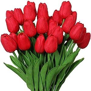 Silk Flower Arrangements Nubry 30pcs Artificial Tulip Flowers Fake Real Touch Tulips Flower Bouquet for Wedding Arrangements Centerpieces Home Decoration (Red)