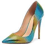 Lydee Mujer Moda Stiletto Heels Zapatos Ponerse Basic Pumps Dedo del Pie Puntiagudo Heels Fiesta Boda Oficina Zapatos Animal Print HuangLv-12CM Size 45