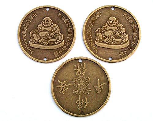Topdekoshop 3 x MEGA Glücksmünzen/Kettenanhänger 5,5 cm Mönch/Schrift China Chinesische Glücksmünzen Fengh Shui Talisman 4284