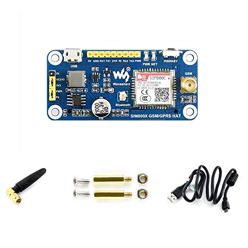 Waveshare gsm/GPRS/Bluetooth Hat for Raspberry Pi 2B/3B/3B+/Zero/Zero W Based on SIM800C Send Messages Connect to Wireless Internet Transfer Data