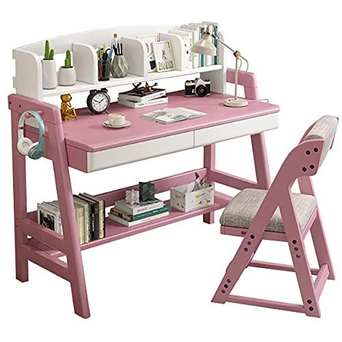 Tavolo studio e sedia in legno massello, scrivania l'home office, scrivania studenti, scrivania computer per giovani, postazione di lavoro robusta, libreria con cassetti può essere alzata e abbassat