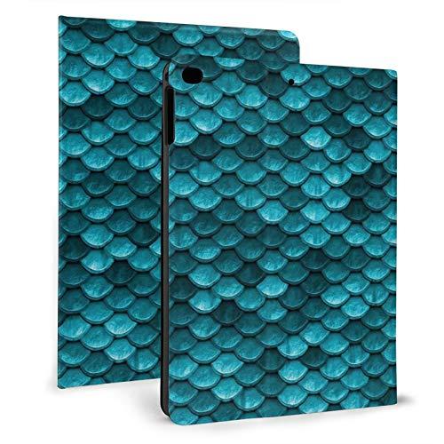 Beautiful Marine Blue Teal Mermaid Fish IPAD Cases Fashion Tablet Protective case PU Leather Anti-Fall Automatic Sleep Tri-fold Spin Full Protection