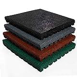 Tapis anti chute etm® Play-Protect en coloris divers | SET de 4 pièces - épaisseur 25mm | amortit les chocs - usage outdoor | 50x50cm, vert