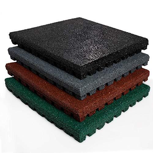 Tapis anti chute etm® Play-Protect en coloris divers   SET de 4 pièces - épaisseur 25mm   amortit les chocs - usage outdoor   50x50cm, gris