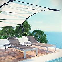 Modway Shore Aluminum  Outdoor Patio Chair (Set of 2), Silver/Gray
