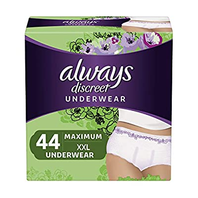 Always Discreet Incontinence & Postpartum Incontinence Underwear for Women, XXL, 44 Count, FSA HSA Eligible, Maximum Protection, Disposable (22 Count, Pack of 2 - 44 Count Total) from Procter & Gamble - HABA Hub