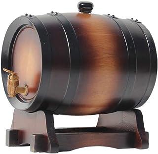 Tonneau de vin, Distributeur 3L en fût de chêne, Tonneau à vin en bois de chêne vintage pour bière Whisky Rhum Port Keg St...