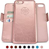 Dreem Fibonacci 2-in-1 Wallet-Case for iPhone 6-Plus & 6s-Plus, Magnetic Detachable Shock-Proof TPU Slim-Case, RFID Protection, 2-Way Stand, Luxury Vegan Leather, GiftBox - Rose-Gold