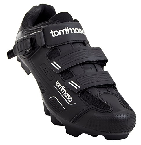 Tommaso Montagna 200 Men's Mountain Bike MTB Spin Cycling Shoe with Buckle Compatible with SPD Cleats Black - 42