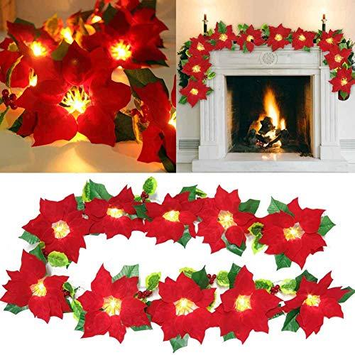 Tacohan Guirnalda de Navidad con Luces, 2m 10 LED coronas de navidad decoracion con frutos rojos estambres amarillos hojas de acebo flores de nochebuena para decoración navideña y decoración del hogar