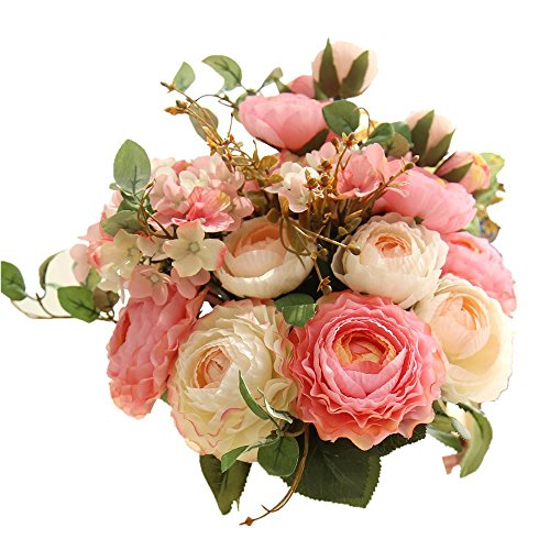 KIRIFLY Artificial Fake Flowers Plants Silk Rose Flower Arrangements Wedding Bouquets Decorations...