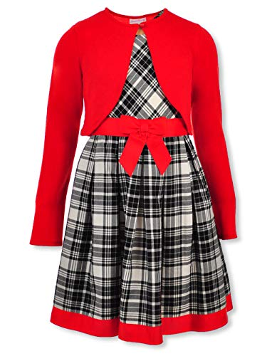 Bonnie Jean Holiday Plaid Dress with Red Sweater Cardigan for Infant, Toddler, Little and Big Girls (10)