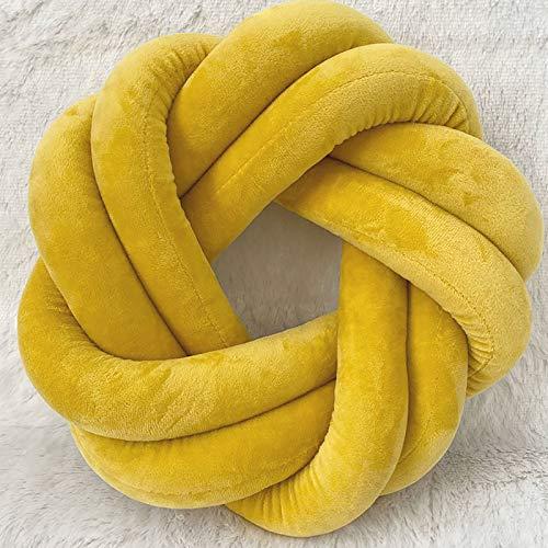 Cojín De Nudo De La Almohada del Nudo Creativo,Anillo Suave con Nudo Tejido Hecho A Mano Cojín del Asiento Simple Suave Esponjoso para El Coche Sofá-Amarillo 30cm(12inch)