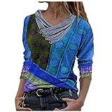Sudadera con capucha para mujer, para otoño e invierno, manga larga, con diseño de Tie-Dye impreso, cuello bordado, manga larga F_azul. M