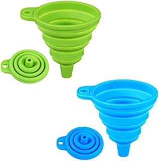 Silicone Collapsible Funnel Set of 2, Small and Large, Foldable Kitchen Funnel for Water Bottle Liquid Transfer Food Grade...