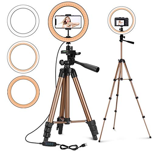 """PEYOU 10"""" LED Selfie Ring Light with 50"""" Tripod Stand & Phone Holder for Makeup Live Stream, Camera LED Light Ring with Remote Shutter for Photography/YouTube Video, Compatible with iPhone & Android"""