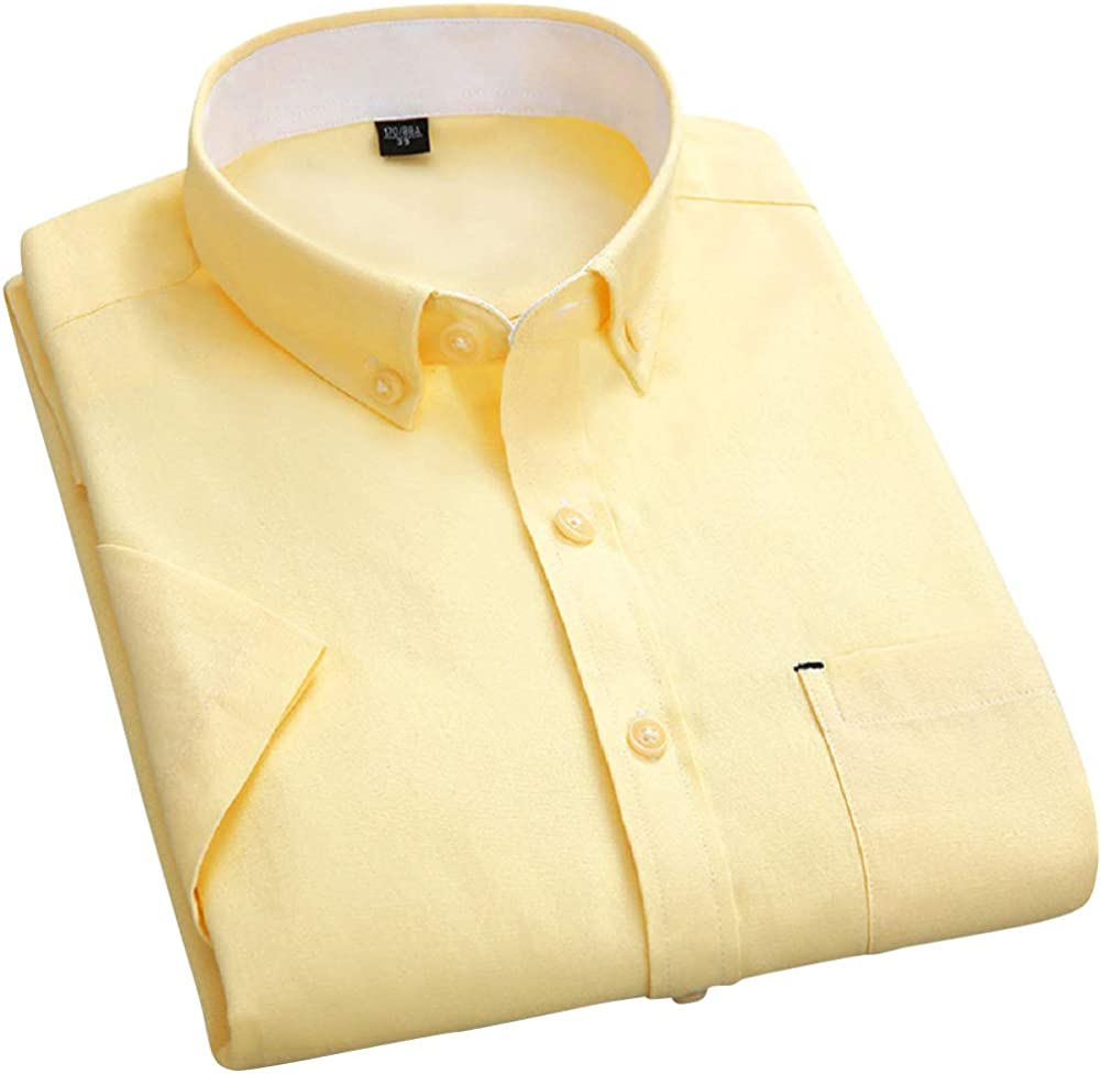 CHARTOU Men's Casual Spread Collar Short Sleeve Button Down Solid Oxford Shirts