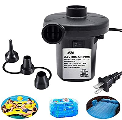 Electric Air Pump for Inflatables, ONG NAMO Quick Air Pump with 3 Nozzles for Air Mattresses Beds Boats Swimming Ring Inflatable Pool Toys 110V AC (130W) by WALLE