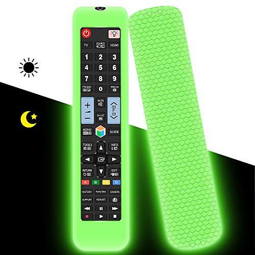 Custodia in Silicone per Samsung Telecomando Universale AA59-00582A AA59-00581A AA59-00580A Sostitutivo, Anti-Scivolo Protettiva Cover Cassa Copertura per Samsung Smart TV Remote(Verde Fluorescente)