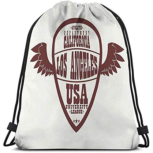 Emonye Tasche mit Kordelzug Los Angeles Kalifornien Sportbekleidung Logo Flügel Sport Los Angeles California Athletic