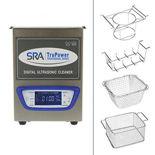 SRA TruPower UC-20D-PRO Professional Ultrasonic Cleaner, 2 Liter Capacity with LCD Display, Sweep/Degas, Adjustable Power, Sleep Function, 2 Baskets, Wire Ring Rack and Wire Beaker Holder