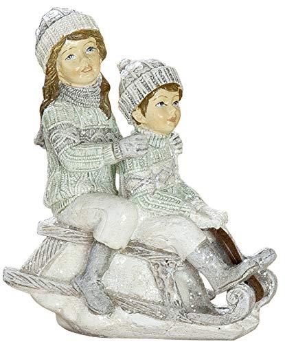dekojohnson Winterkind Dekofigur Mädchen Junge Schlitten Nostalgie Deko weiß grau Weihnachtsdeko für Innen 11x9cm Groß