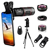 Cell Phone Camera Lenses Kit, 4 in 1 18X Telescopic Zoom Lens/4K HD Super Wide Angle/Macro/Fisheye Lens/Tripod/Camera Shutter Compatible with iPhone 12 11 Xs Max 8 7 6 Plus, Samsung Moto and More