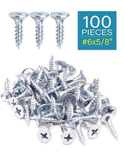 """IMScrews 100pcs #6x5/8"""" Flat Head Phillips Drywall Screws Fine Thread Sharp Point Wood Screw Assortment Kit, Carbon Steel 1022A, Zinc Coated"""
