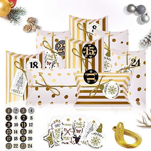 Sunshine smile 24 Weihnachtskalender Box,Weihnachtskalender Bastelset,Adventskalender zum Befüllen,Weihnachten Geschenkbox Kraftpapier,kleine geschenkbox Weihnachten,Klein Geschenkschachtel(Golden)